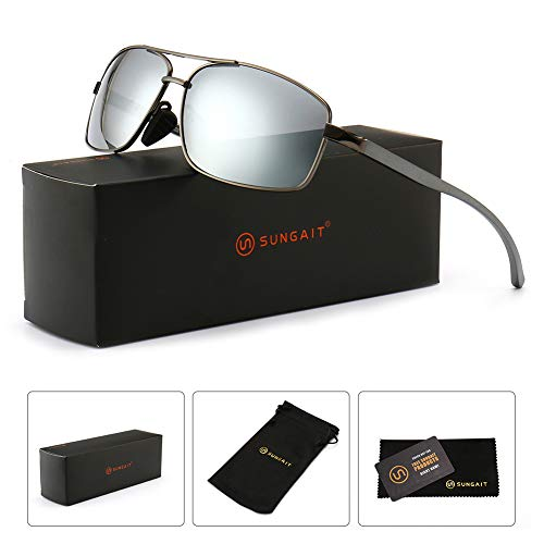 43eb3945a9d SUNGAIT Ultra Lightweight Rectangular Polarized Sunglasses 100% UV  protection Gunmetal Frame Sliver Mirror Lens