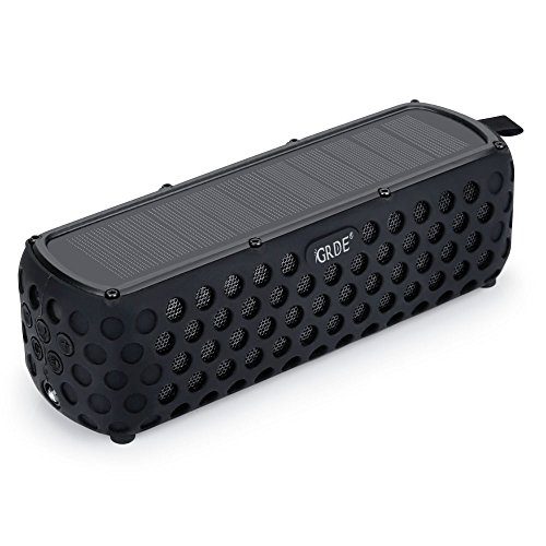 Solar Bluetooth Speaker, GRDE 30 Hours Playtime Portable Water Resistant Wireless Bluetooth 4.0 Speakers with Dual Driver and Built-in Mic for Indoor& Outdoor Activities