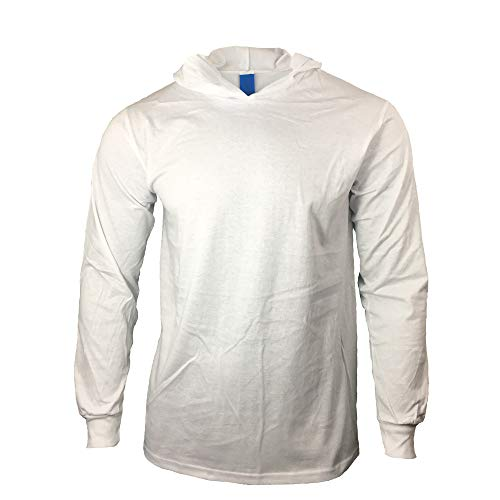 Hood White Clothing (Men Construction Long Sleeve Work T Shirts with Hood (White, X-Large))