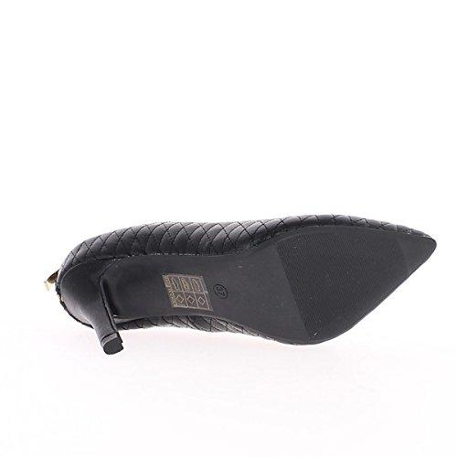 Escarpins femme noirs hauts à talon de 9cm bouts pointus