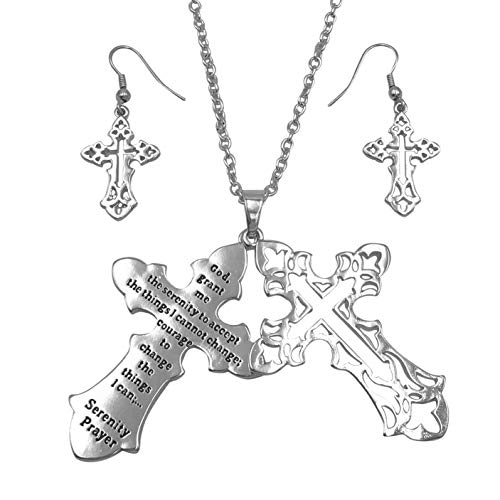 Gypsy Jewels Inspirational Message Faith Cross Theme Pendant Long Necklace & Earring Set (Serenity Prayer Silver Tone)
