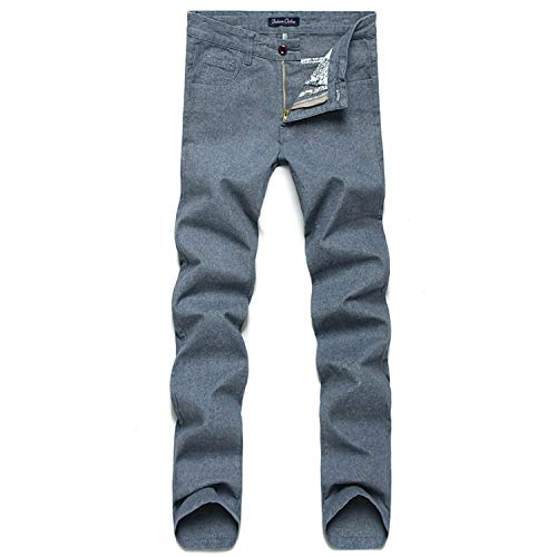 Robert Reyna Fashionable Pants Men's Cotton and Linen Casual Pants Autumn and Winter Slim Waist Straight,31,MediumGray