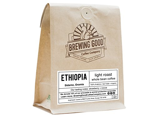 Brewing Good Coffee Organic, Light Roast, Ethiopia, Sidamo, Small Batch, Whole Bean, Arabica, Fair Trade, Fresh Roasted