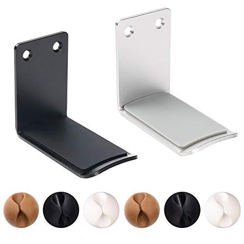 2 paquetes de soporte para auriculares de aluminio y 6 clips para cables, soporte para auriculares SourceTon 2 (negro y...