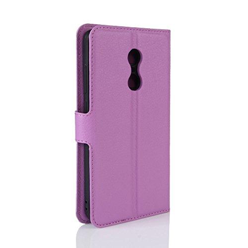 Funda Xiaomi Redmi Note 4X, WolinTek Funda Cartera de Cuero Sintético Cubierta de Tapa del Tirón con Función Soporte y Tarjeta Flip Wallet Case Carcasa para Xiaomi Redmi Note 4X, rosa violeta