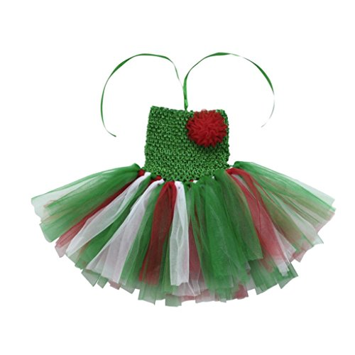 (Newborn Infant Baby Girls Strapless Dress Floral Gauze Party Skirts Tutu Dresses (0-12 Months, Green 14))