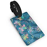 RZM YLY Teal Butterfly Luggage Tag Travel Bag Suitcase Labels W/Privacy Cover Tags Travel ID Label for Bag with Strap