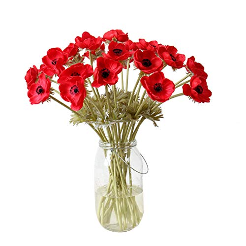 Calcifer 5 Pcs 51 cm PU Anemone Artificial Flowers Bridal Holding Flowers Bouquet Home Garden Wedding Party Wall Living Room Decoration (Red)
