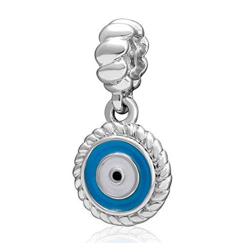 (Charmstar Watchful Blue Enamel Eye Dangle Charm 925 Silver Round Pendant Beads for European Brand Bracelet)