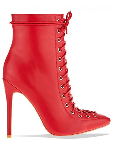 Lamoda Womens Corset Pointed Stiletto Heeled Ankle Boots in PU Red