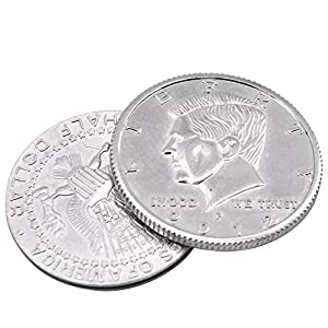 Super Flipper Coin Morgan/Half Dollar Coin Magic Tricks Professional Funny Trick for Kids Coin into Bottle Accessories