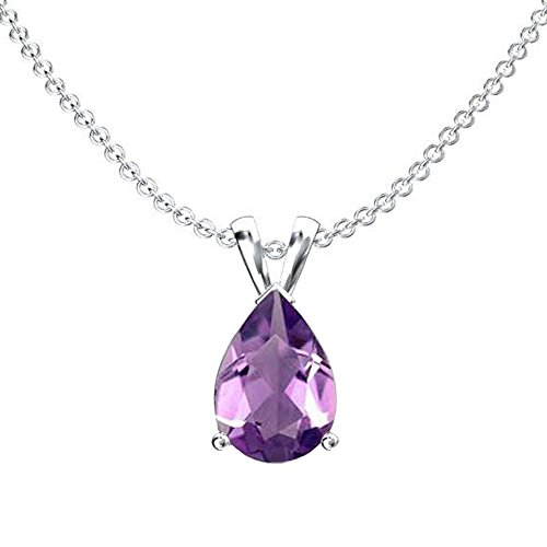 (Dazzlingrock Collection 14K 9x7 mm Pear Cut Amethyst Ladies Solitaire Pendant (Silver Chain Included), White Gold)