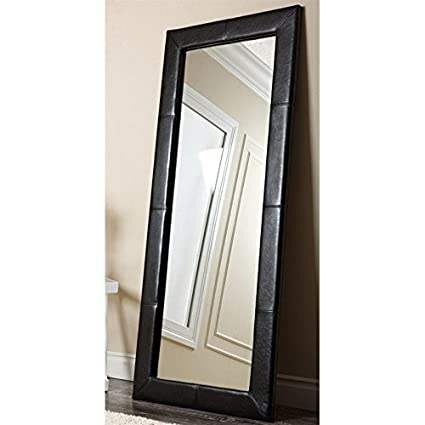 Abbyson Living Blaketon Leather Floor Mirror in Black