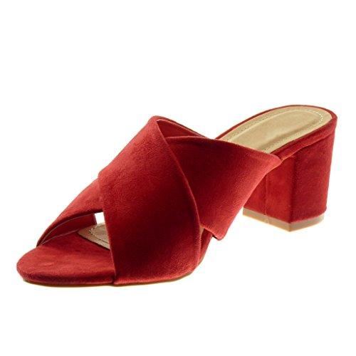 Angkorly Tacco Moda Slip Alto Donna Blocco Sandali Mules On cm Scarpe a Tanga Rosso 7 AxAwqFfrZ