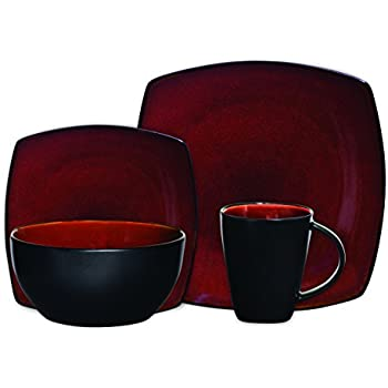 Charming Gibson Soho Lounge 16 Piece Square Reactive Glaze Dinnerware Set, Red