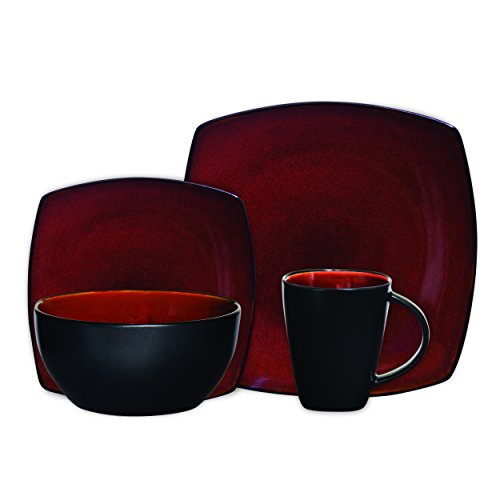 Gibson Elite Soho Lounge Reactive Glaze 16 Piece Dinnerware Set in Red; Includes 4 Dinner Plates; 4 Dessert Plates, 4 Bowls and 4 Mugs (Black And Set Bowl Plate)