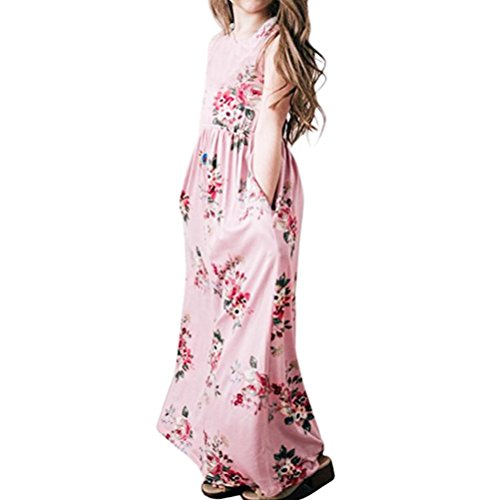 Outtop(TM) Toddler Kids Baby Girls Clothes Infant Child Fathion Summer Flower Print Princess Party Dress Outfits Clothes (10T(8~10years), Pink) by Outtop(TM)