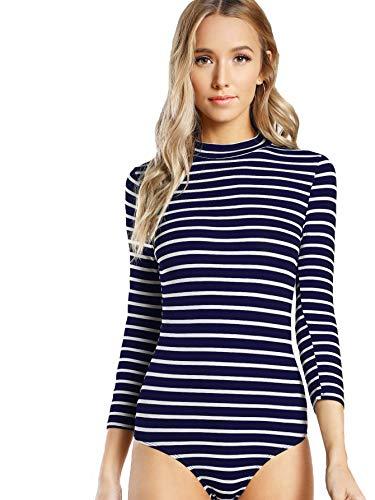 (DIDK Women's Mock Neck Slim Striped 3/4 Sleeve Bodysuit Blue and White M)