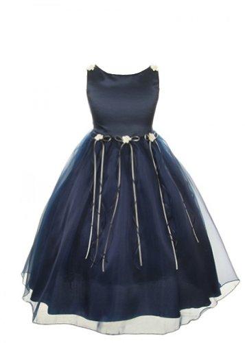 Girl Flower Bud Rose - Kids Dream Little Girl 6 Navy Rosebud Organza Flower Girl Dress