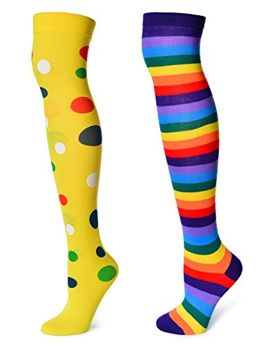 Long Socks Rainbow Striped Pattern Stocks Polka dots Pattern Stocks 2-Piece Set (XC-WA) -