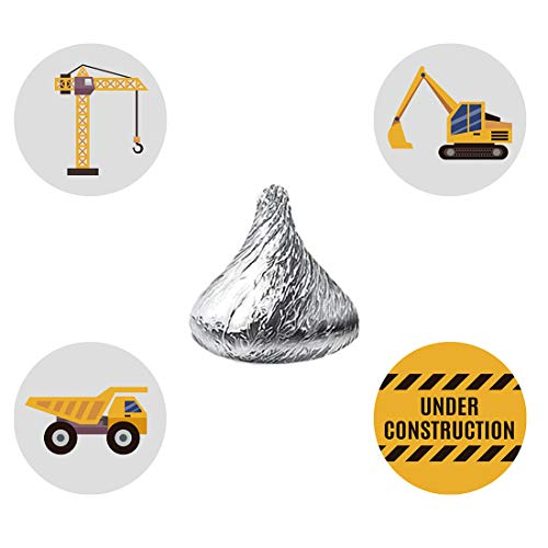 - MAGJUCHE Construction Truck Candy Stickers, Under Construction Baby Shower Birthday Party Favor Labels, Fit Hershey's Kisses, 304 Count