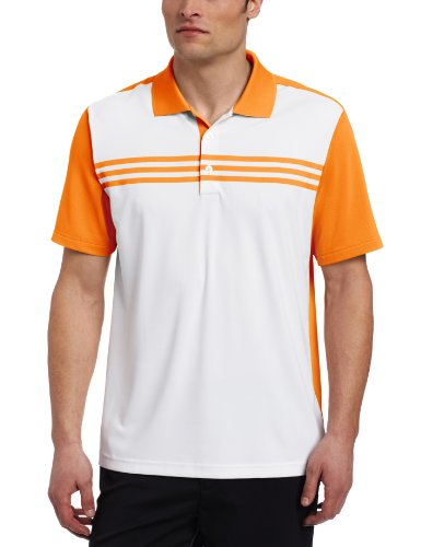 adidas Golf Men's Climacool 3-Stripes Color Block Polo Shirt, White/Sunset, X-Large ()