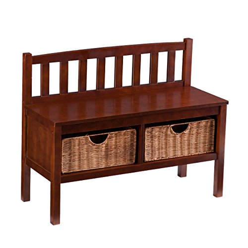 Southern Enterprises Storage Bench with Rattan Baskets, Espresso Finish
