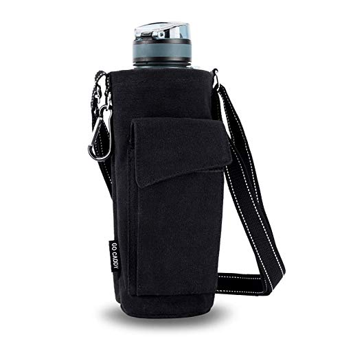 ASHOMO Water Bottle Holder, Water Bottle Carrier with Adjustable Shoulder/Hand Strap 2 Pockets for Biking/Hiking/Travel/Camping, Black -