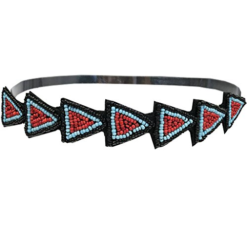 Mia Hand Made Beautiful Embellished Beaded Headband-Made Out Of Black, Red, And Blue Beads In A Triangle Shaped Design-Indian Arrows-One Size Fits All! (1 piece per - Mia Arrow