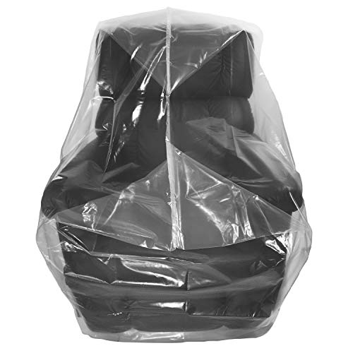 Wowfit Furniture Cover - Dust-Proof Moving Bag for Chairs, Recliners, Moving Boxes - Clear & Odorless Plastic Bag for Moving - 4mil Thick Chair Cover - 34W x 42D x 65/48H Inches (Best Way To Wrap Chairs For Moving)