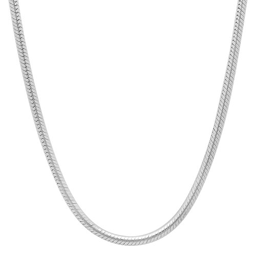 3mm 925 Sterling Silver Nickel-Free Rounded Snake Chain , 24 inches - Made in Italy + Cleaning Cloth by The Bling Factory