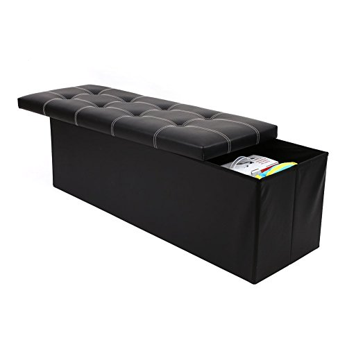 Vencer Black Leather Folding Storage Ottoman Bench Foot Rest Stool Seat Chest 43