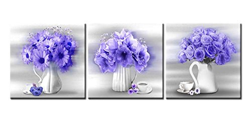 Canvas Print Wall Art Painting For Home Decor Floral Still Life Of Lily Rose And African Daisy Flowers In Blue With White Vase And Coffee Cup In Black And White Background 3 Pieces Panel Paintings Modern Giclee Stretched And Framed Artwork The Picture For Living Room Decoration Flower Pictures Photo Prints On Canvas