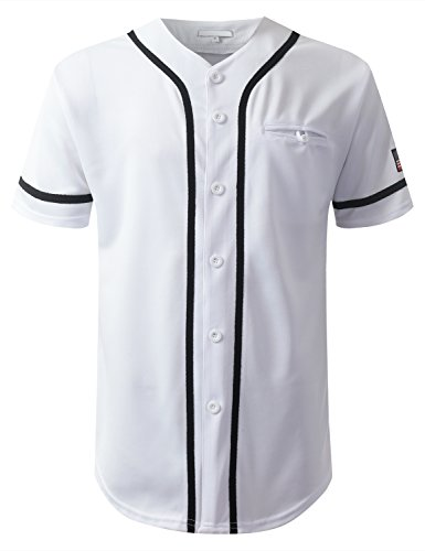 URBANCREWS Mens Hipster Hip Hop USA Flag Patch Baseball Jersey Shirt White, 2XL (Plus Size Baseball Jersey)