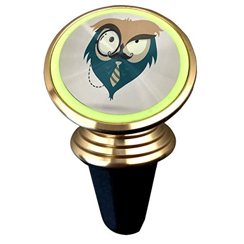 (Magnetic Car Holder Rotation Universal Cute Little Cartoon Hipster Owl Custom Adjustable 360˚ Rotation Universal Car Mount Cell Phone Stand for Galaxy S9/S9 Plus/S8/S7)