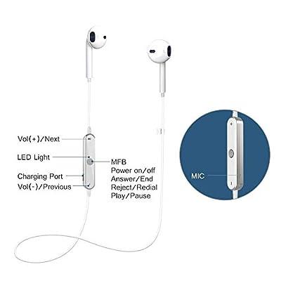 TTwake S6 Wireless in-Ear Earphones Bluetooth Headset Sweatproof Stereo Bluetooth Earphones with Mic, for Samsung Galaxy S8, S8 Plus, Android.