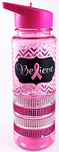 CORJENT Pink Ribbon Breast Cancer Awareness 24 oz. Sports Water Bottle with Straw Rhinestone Encrusted (Design5, 24 OZ)