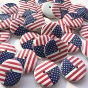 JumpingLight Pkg 10 American Flag 2-Hole White Wood Button 3/4