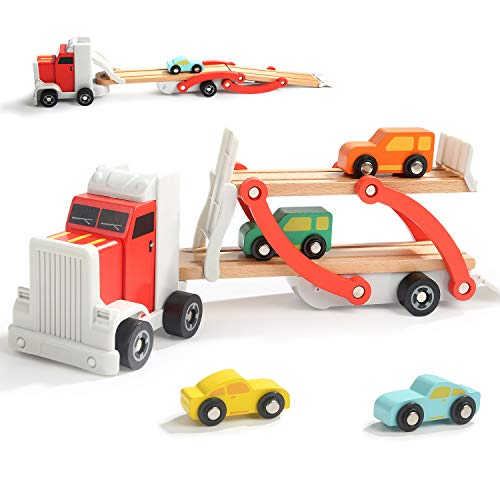 TOP BRIGHT Wooden Car Ramp Toys for 3 4 Year Old Boys Gift Car Carrier Truck Toy for Toddler with 4 Mini Cars