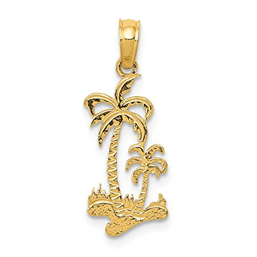 14k Gold Palm Tree Charm - 14kt Yellow Gold Double Palm Trees Pendant Charm Necklace Sea Shore Sal Fine Jewelry For Women Gift Set