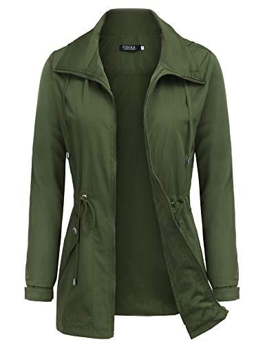 (FISOUL Raincoats Women's Waterproof Lightweight Rain Jacket Outdoor Hooded Trench Army Green XXL)
