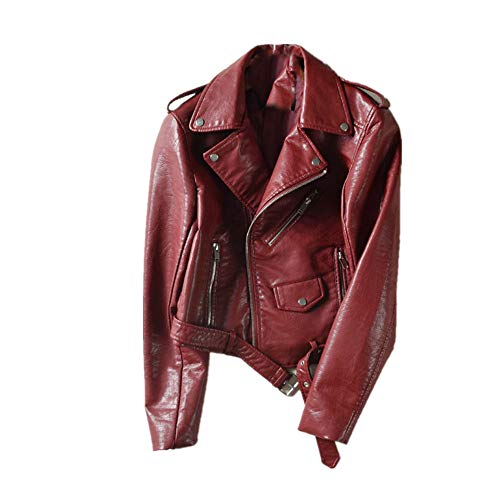 Sunmoot Fashion Women Faux Leather Bomber Jacket Ladies Racing Style Biker Coats with Belt