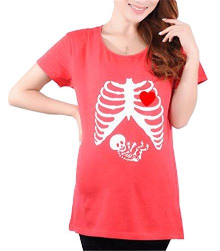 Top Corta Magliette Kerlana Estive Shirt Divertente T Manica Gravidanza Bluse Magliette Camicetta Red8 Donna Stampa Premaman TU4TwF7q