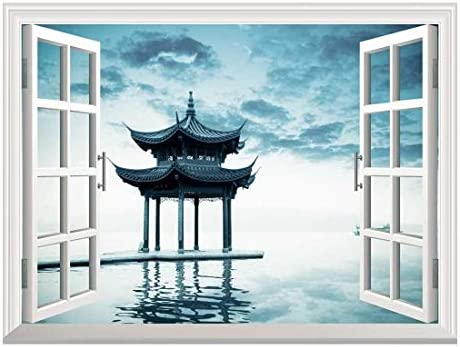 Removable Wall Sticker/Wall Mural - Ancient Chinese Pavilion Beside Peaceful West Lake,Hangzhou China | Creative Window View Home Decor/Wall Decor - 36
