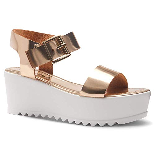 Herstyle Carita Women's Open Toe Ankle Strap Platform Wedge Sandal Rose Gold 11.0