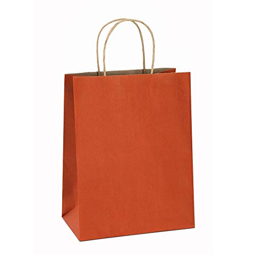 Paper Gift Bags 8x4.25x10.5 Inches 100Pcs BagDream Orange Stripe Gift Bags Shopping Bags Kraft Bags Retail Bags Craft Bag 100% Recyclable Paper Bags with Handles Bulk