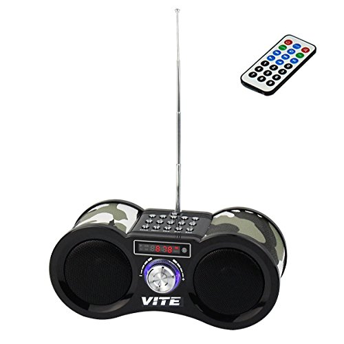 VITE VT-113 Portable Speaker with FM Stereo Radio Mp3 Music Player IF Card Aux Line In Remote(Camouflage) (Boombox Remote compare prices)