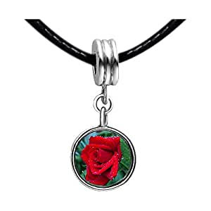Chicforest Silver Plated Red Rose Photo Peridot Crystal August Birthstone Flower dangle Charm Beads Fit Pandora Chamilia Biagi Charm Bracelet