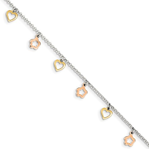 925 Sterling Silver Gold Rose Tone Heart Flower 1 Inch Adjustable Chain Plus Size Extender Anklet Ankle Beach Bracelet Fine Jewelry Gifts For Women For Her