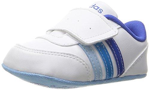adidas Girls' V Jog Crib Sneaker, White/Satellite/Solar Blue, 1 M US Infant